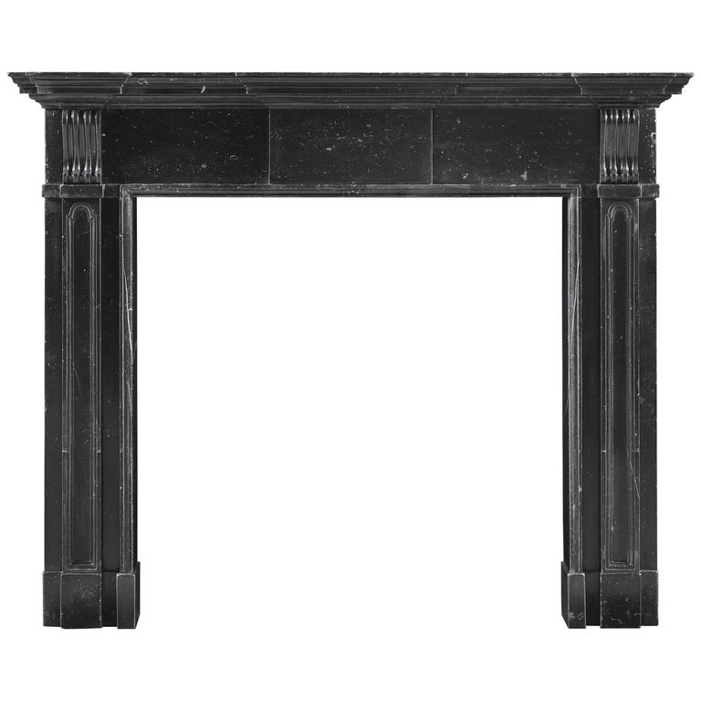 Early Architectural Palladian Irish Fireplace Mantel of Black Kilkenny Marble