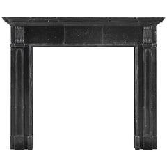 Early Architectural Palladian Irish Fireplace Mantel of Black Kilkenny Marble