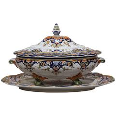 Large Mid-20th Century Hand-Painted Center Piece Set from Rouen, France