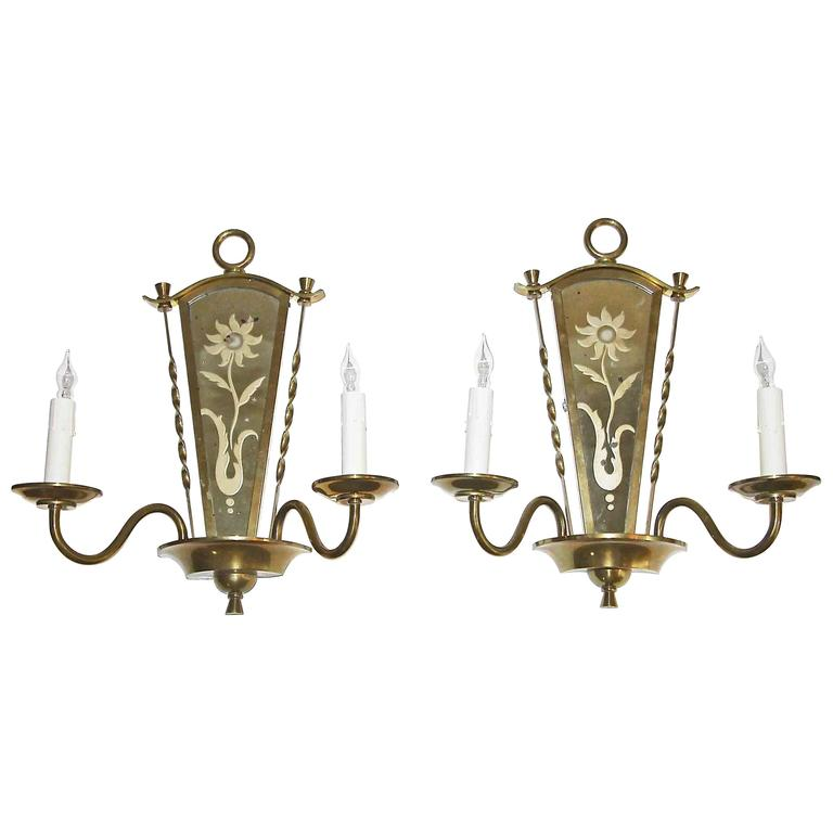 French Brass Wall Sconces : Pair of French Deco Mirrored Brass Wall Sconces For Sale at 1stdibs
