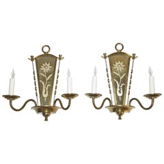 Pair of French Deco Mirrored Brass Wall Sconces