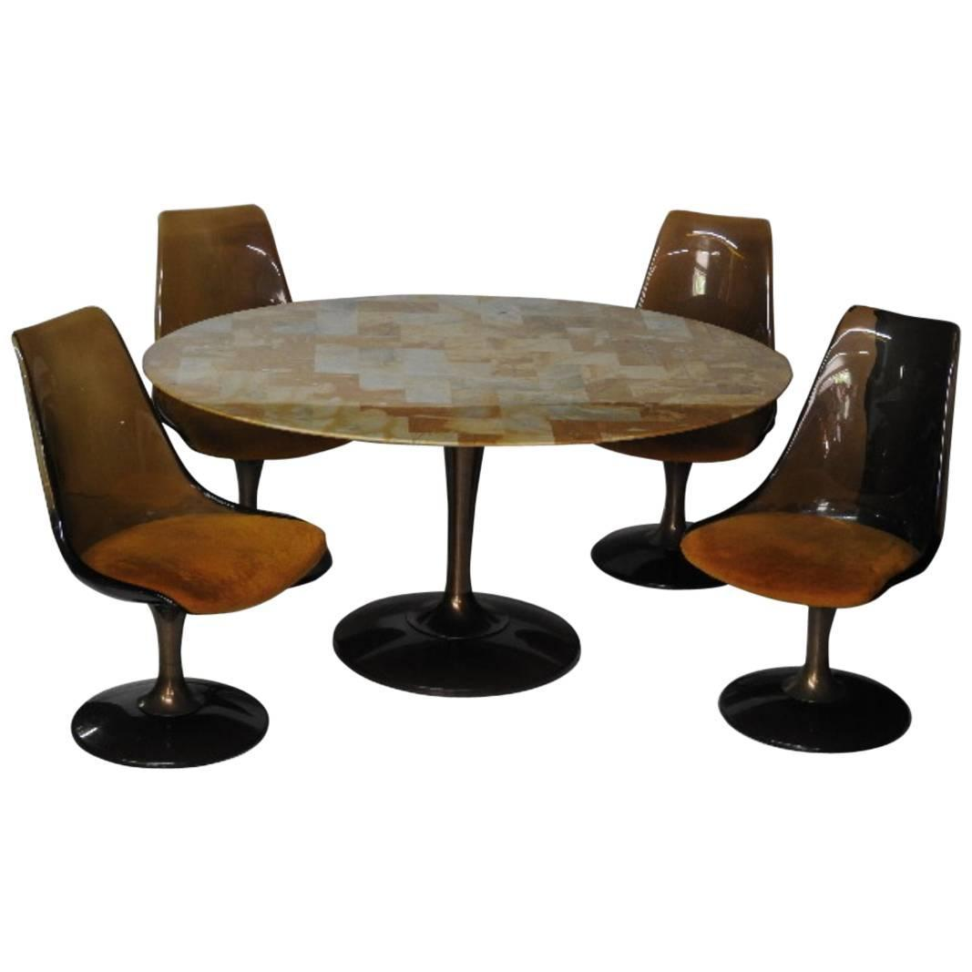 Five Piece Chromcraft Tulip Style Lucite Dining Set For Sale At 1stdibs