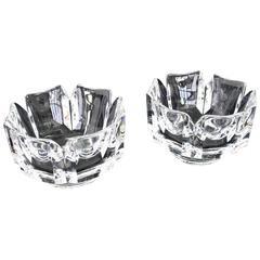 Pair of Heavy Crystal Bowl Vases by Orrefors
