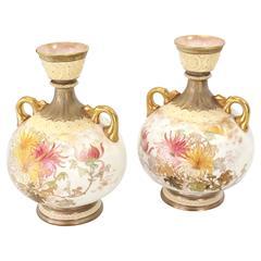 Pair of Royal Worcester Porcelain Vases