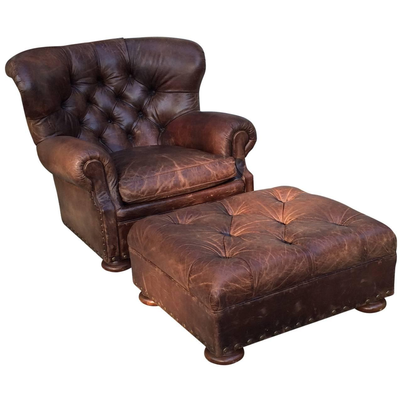 Handsome large ralph lauren button tufted club chair and for Chair ottoman