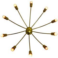 Brass Mid Century Modern J. T. Kalmar Spider Ceiling Lamp, Vienna, 1950s