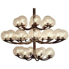 1940s Metal Brass Steel Chandelier