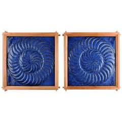Pair of Large and Heavy Stoneware Reliefs in Modern Design, Sweden, 1960s