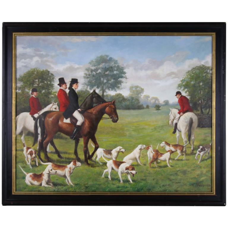 The Fox Hunt English Sporting Oil on Canvas Signed HK Hobbs