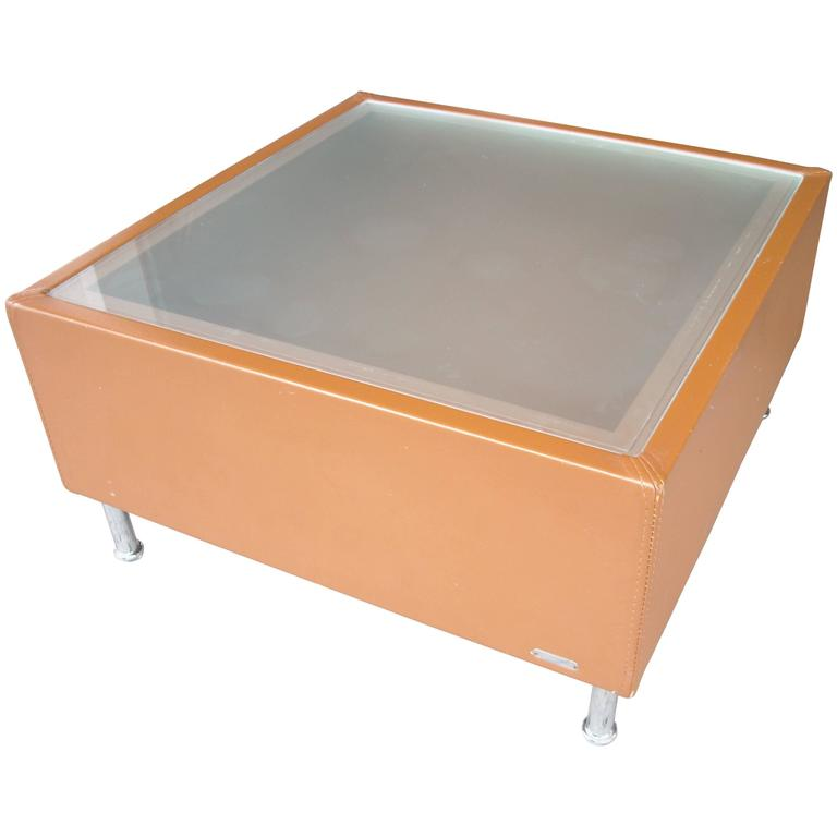 Mascheroni Side Or Coffee Cocktail Table Frosted Glass Top Leather And Chrome For Sale At 1stdibs
