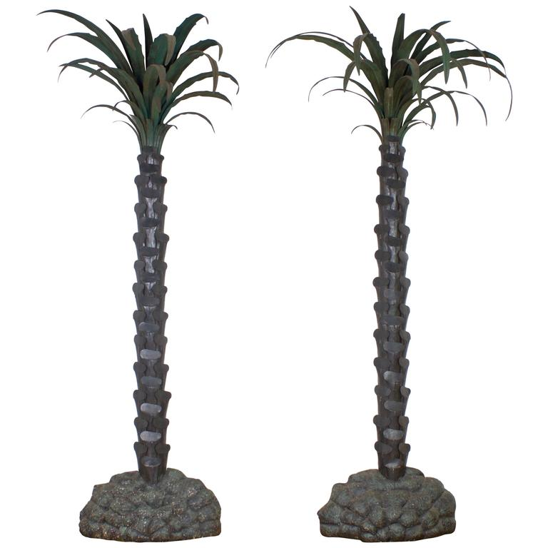Pair of Exceptional Vintage Palm Trees in Original Finish
