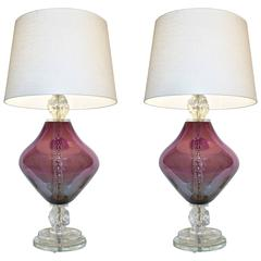 Pair of Contemporary Italian Purple Murano Glass Lamps with Ice Accents