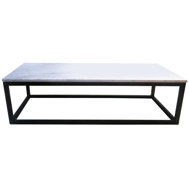 White Marble Top Coffee Table Rectangle: 1970s Rectangle Coffee Table Marble And Square Tube Metal