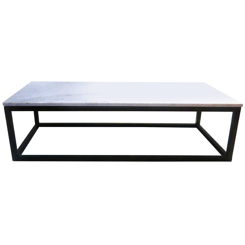 Square Black Metal And White Marble Coffee Table: 1970s Rectangle Coffee Table Marble And Square Tube Metal