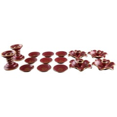Collection 'Red Rubin' Pottery with Red Glaze with Gold, Upsala-Ekeby, Gefle