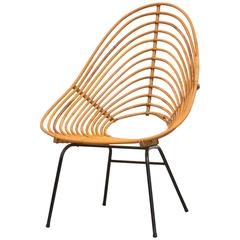 Onion Skin Patterned Tall Bamboo Lounge Chair