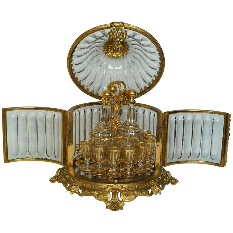 Baccarat Bronze-Mounted Red to Clear Tantalus Set For Sale