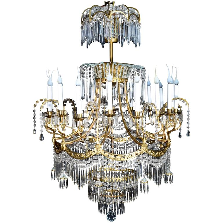 Palatial & Large Antique Russian Neoclassical Gilt Bronze and Crystal  Chandelier For Sale - Palatial And Large Antique Russian Neoclassical Gilt Bronze And