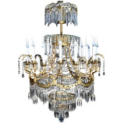 Palatial & Large Antique Russian Neoclassical Gilt Bronze and Crystal Chandelier