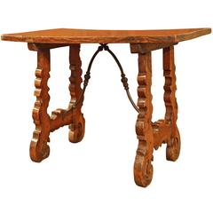Mid-18th Century Spanish Walnut Table with Iron Stretcher and Single Plank Top