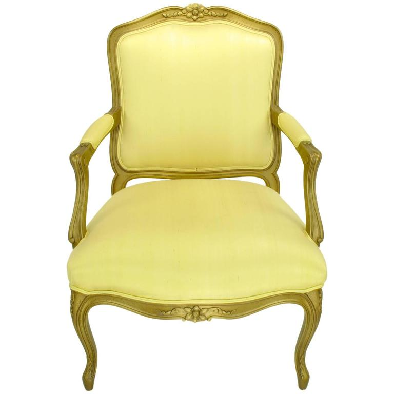 1940s Giltwood Louis Xv Style Fauteuil With Saffron Silk Upholstery For Sale At 1stdibs