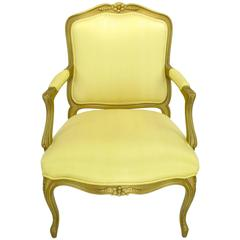 1940s Giltwood Louis XV Style Fauteuil with Saffron Silk Upholstery