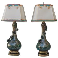 Rare Teal and Gold Murano Lamps with Flowers