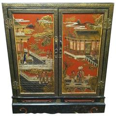 Chinese Black and Polychrome Lacquer Cabinet, Early 20th Century