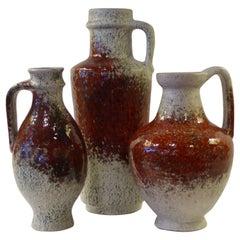 1960s German Pottery Group Friedegart Glatzle Oxblood Glaze Karlsruhe