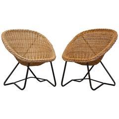 Pair of Dirk Van Sliedrecht Woven Bowl Chair