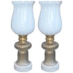 Pair of Murano Glass Torcheres