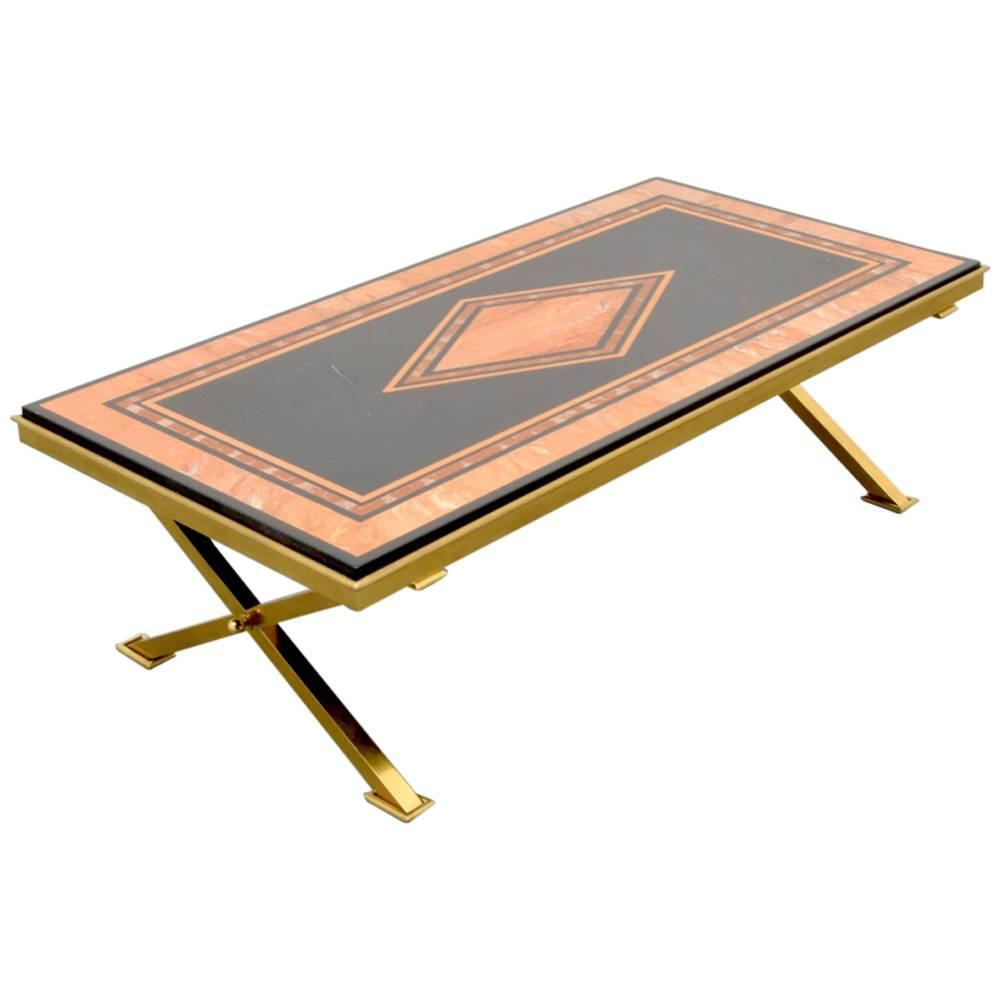 Maison Charles Inlaid Marble And Gold Leaf Coffee Table France 1940s At 1stdibs