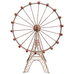 Large-Scale Painted Metal Ferris Wheel Model, French, circa 1920