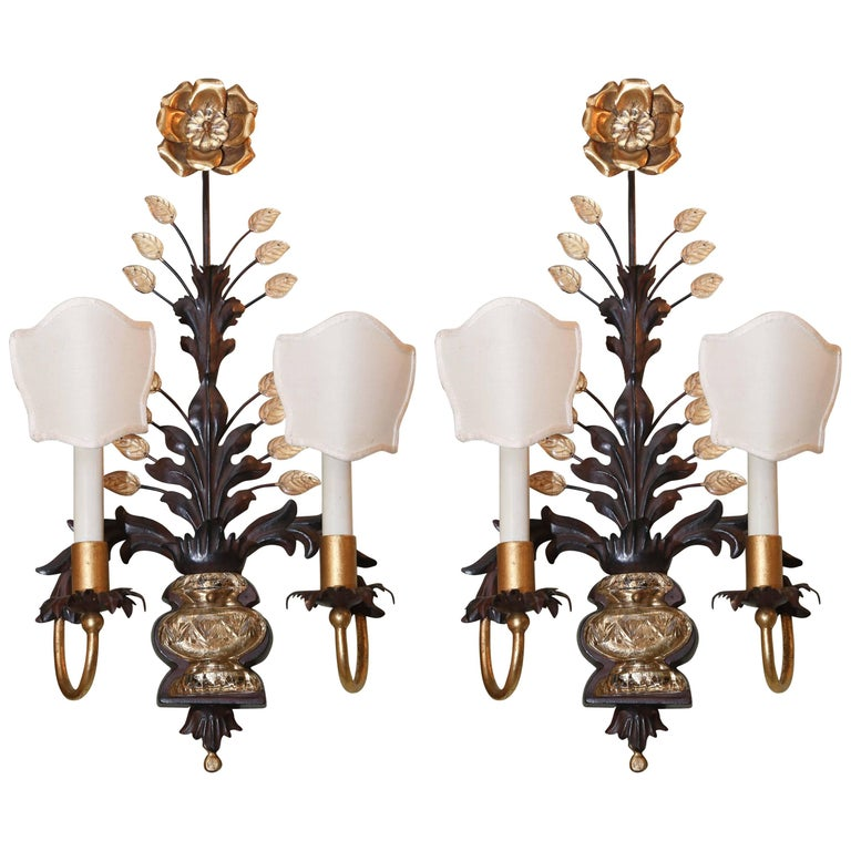 Pair of Wall Sconces with Two Lights, circa 1930, style of Maison Baguès For Sale
