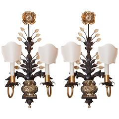Pair of Wall Sconces with Two Lights, circa 1930, style of Maison Baguès