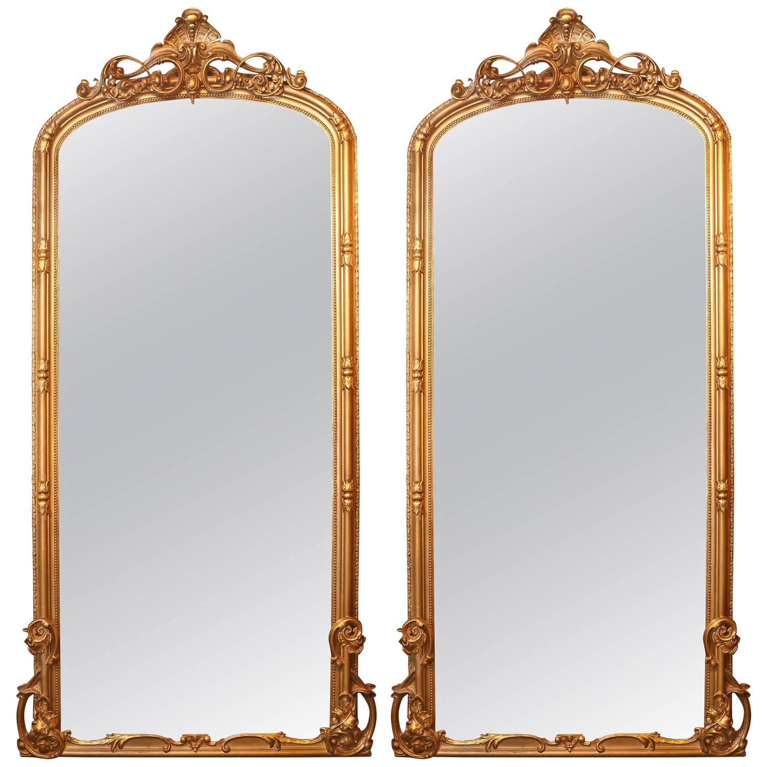 Pair of tall french giltwood palace size mirrors for sale for Tall mirrors for sale