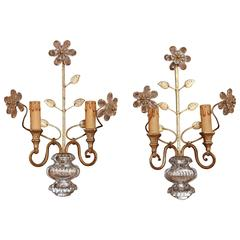 Pair Two-Light Wall Sconces circa 1930, Urn and Floral Finial, style of Baguès