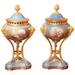 Sèvres Porcelain Parfoams in Celeste Blue with Bronze Doré Mounts 19th century