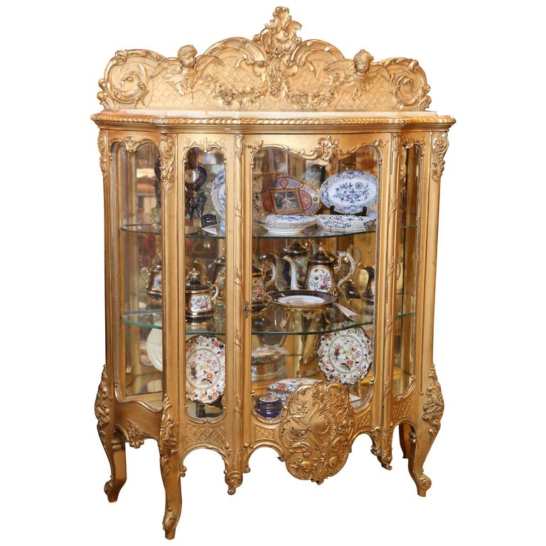 French Giltwood Vitrine, 19th Century Louis XV Style with Alabaster Top