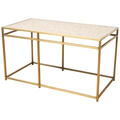 Brass Tile-Top Console Table