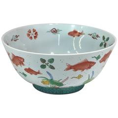Large Centerpiece Hand-Painted Goldfish Bowl