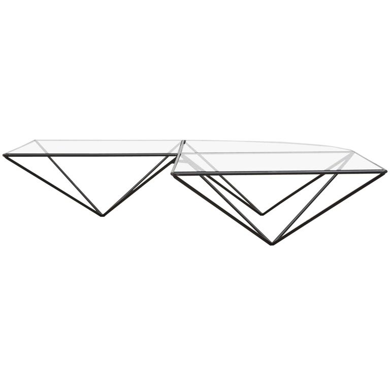 Artimeta Attributed Square Metal And Glass Coffee Table At: Paolo Piva Attributed Black Wire Corner Coffee Table At