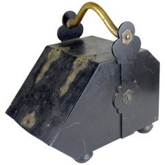 Victorian Fireplace Coal Wood Metal Bin Scuttle, Decorative Brass Details
