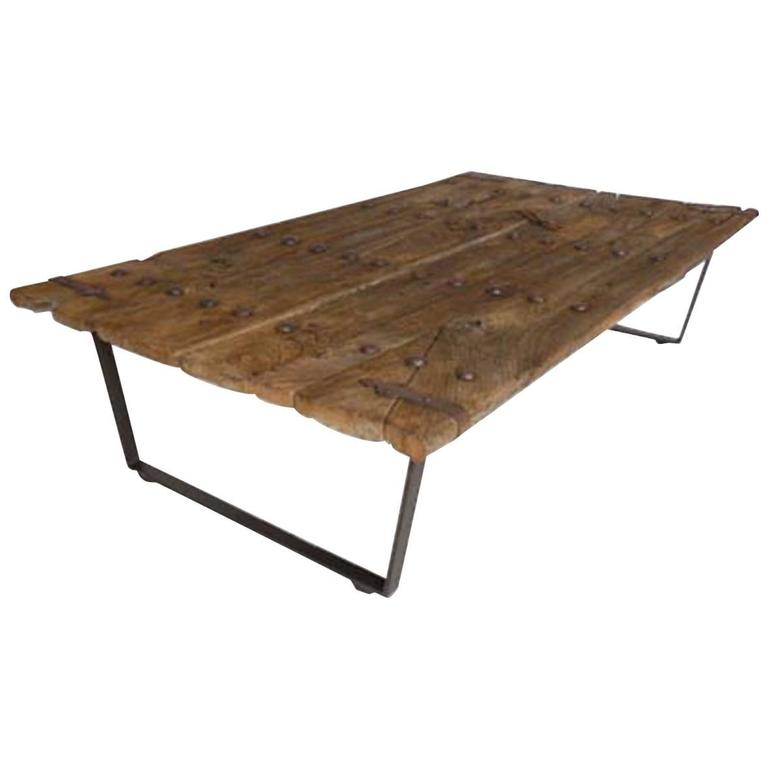 Early Japanese Elm Door Coffee Table With Iron Nails On Custom Base 1