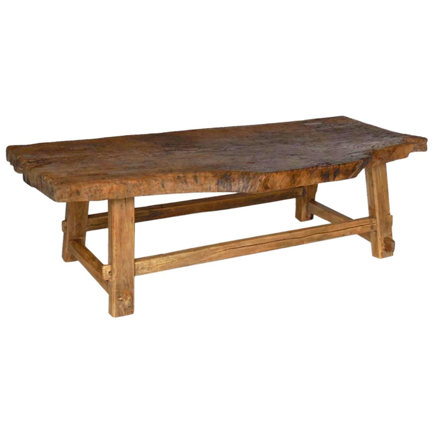 One wide board elm wood coffee table with live edge for sale at 1stdibs Live wood coffee table