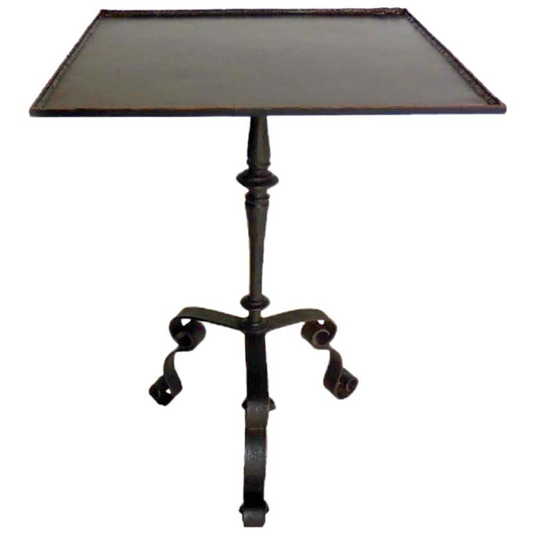 Square Steampunk Iron and Bronze Side Table