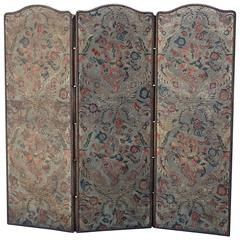 19th Century Embossed Three-Panel Leather Screen