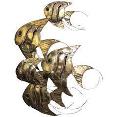 School of Fish Wall Relief in Brass by Curtis Jere