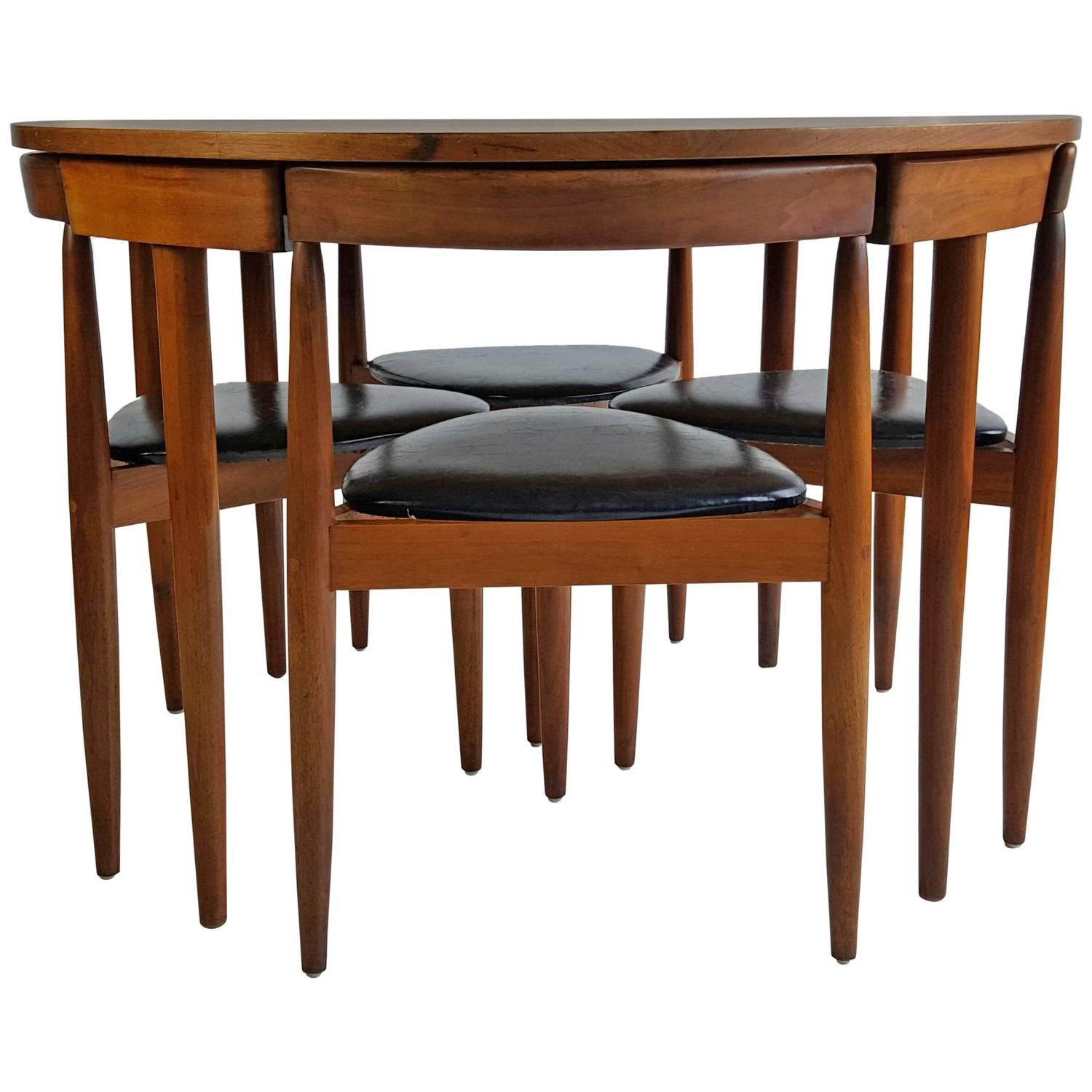 Mid century modern dining table four chairs hans olsen for Mid century modern dining table