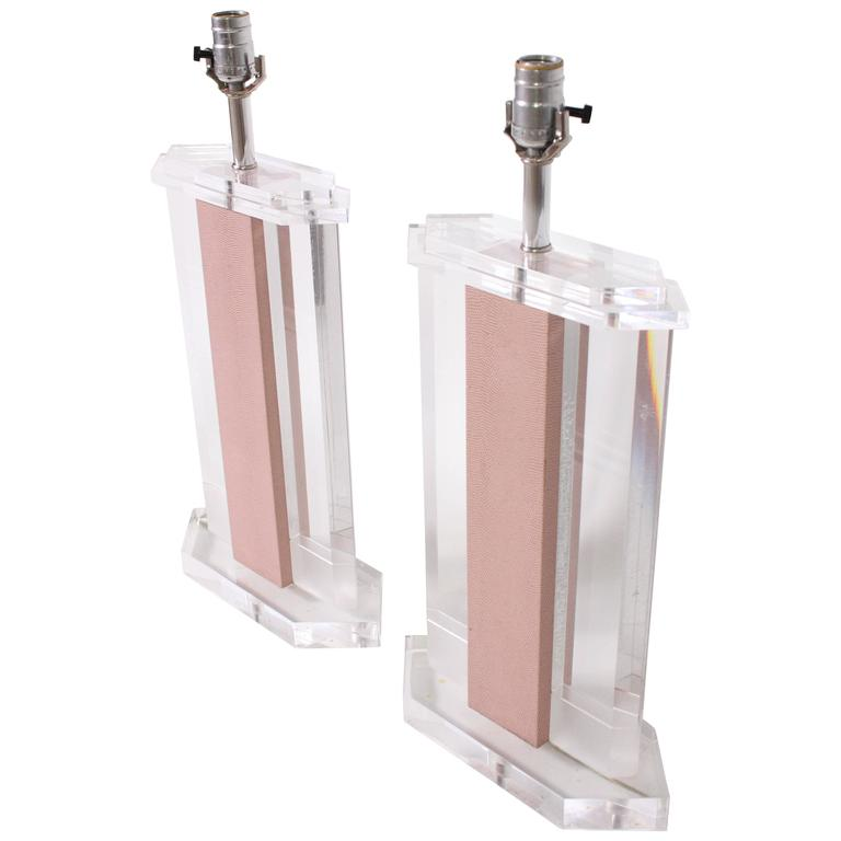 Lucite And Leather Lamps In The Manner Of Karl Springer At